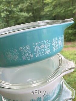 10 Pc Pyrex Amish BUTTERPRINT Turquoise Blue Casserole Dishes with Lids #471-475b