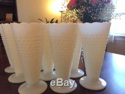 12 Vintage E. O. Brody White Milk Glass Hobnail Trumpet Vase Mid century Modern