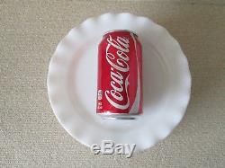 13x Hazel Atlas WHITE CRINOLINE Ruffled Pattern 8 7/8 DINNER Plates Milk Glass