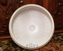 14 Fitter, Large Vintage Embossed Milk Glass Hanging Pendant Shade