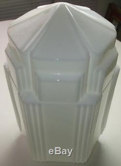 16 1/2 White Milk Glass Art Deco SkyScraper Pendant Light Lamp Shade USA