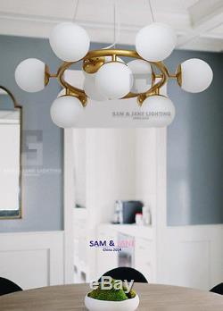 16 Light BRASS Chandelier BISTRO GLOBE MILK GLASS Ceiling Fixture French Pendant