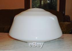 16inch Art Deco Light Globe Diner / School House Mushroom White Milk Glass Globe