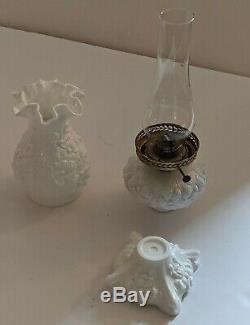 18 Inch Tall 5 Piece Fenton White Poppy Oil Lamp Milk Glass