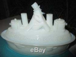1898 Flaccus Milk Glass Dish Uncle Sam On Battleship Spanish American War Era