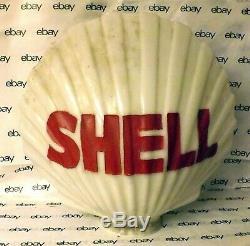 1940's Original Shell Oil Milk Glass Clam Shell Gas Pump Globe Untouched
