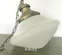 1940s Antique Schoolhouse Milk Glass Pendant Light