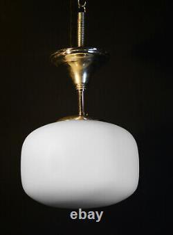 1940s Dutch art deco Opaline milk glass pendant light chrome monk cap fittings
