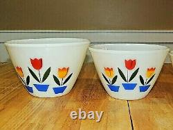 1950's Vintage FIRE KING Oven Ware Four Tulips Nesting Bowl Set, EX++