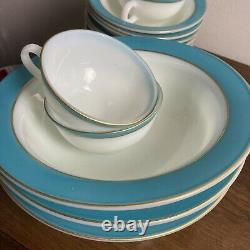 1950s Lot of 53 VTG Pyrex Turquoise & Gold Banded Bowls Plates Cups Saucers WOW