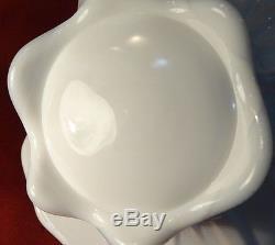 1959-61 Fenton CACTUS Milk Glass Milkglass Large Art Glass Basket Pre Logo