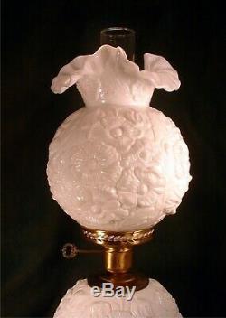 1967 Fenton White Milk Glass Poppy Pattern Crimped Double Ball GWTW Banquet Lamp