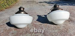 2 12 Milk Glass Schoolhouse Pendant Light Lamp LAMPS original Vintage Antique
