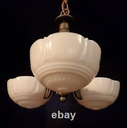 2 AVAIL Antique 1920 Slip Shade Chandelier 3 Light Cup Bowl Milk Glass Cast Iron
