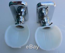 2 Antique Art Deco White Milk Glass & Chrome Sconces Light Fixtures Covers Shade