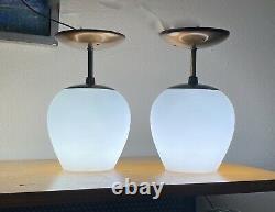 2 Atlas Vtg Mid Century Modern Milk Glass Teardrop Light Fixture Lamp Lightolier