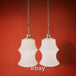2 Available Vintage Milk Glass Opaline Pendant Ceiling Light Czechoslovakia
