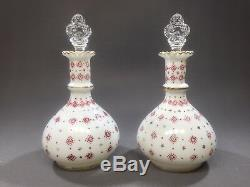 2 Charleton Decorating Fenton Dresser Bottles Red Gold Milk Glass Crown Stoppers