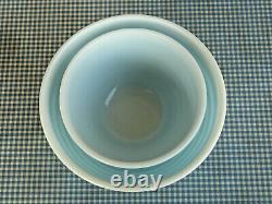 2 Vintage Pyrex Blue Rainbow Stripe Nesting Mixing Bowls USA #401 & #402
