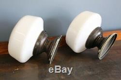 2 Vintage School House Light Fixtures industrial milk glass globe kitchen hall