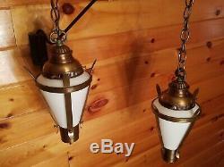 2 Vtg Gothic, Tudor Hanging Light Fixtures Chandeliers with Milk Glass Panels