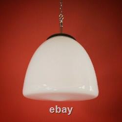 2 available vintage schoolhouse white opaline opal milk glass pendant lights