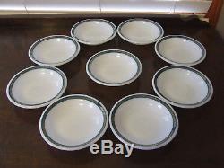 24 PC Vintage Pyrex Corning Milk Glass Teal & Gold Laurel Leaf Bowls