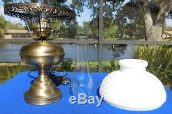24 Vintage GWTW White Milk Glass Hobnail Hurricane Banquet Parlor Lamp