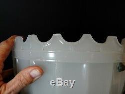 3 Antique 1910 Jefferson Paneled Milk Glass Dome Crenelated Pendant Light Shade