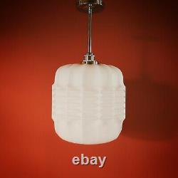 3 Available Vintage Brutalist White Opaline Milk Glass Pendant Ceiling Light