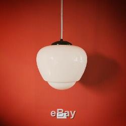 3 Large Vintage Czech School White Glass Pendant Lights Opaline Milk Glass Globe