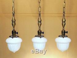 3 MATCHING Antique Victorian Satin Milk Glass Globe Brass Ceiling Pendant Lights