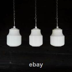 3 Vintage Czech School White Glass Pendant Lights Opaline Milk Glass Globe
