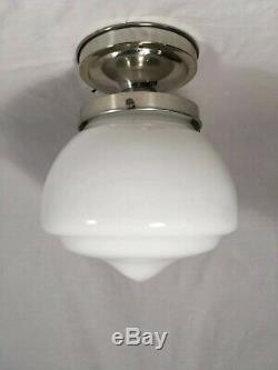 30s Antique Art Deco Milk Glass Schoolhouse Ceiling Light Fixture VTG Chandelier