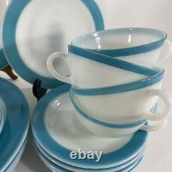 4 VTG Mid Century Pyrex White Milk Glass Turquoise Blue Band 50s Dinnerware Sets