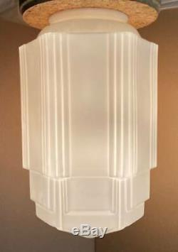 4 Vintage Art Deco Skyscraper White Milk Glass Globes Fixture Light Lamp 16.5