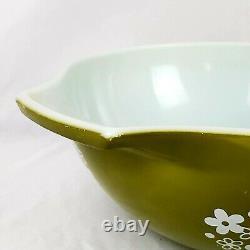 4 Vintage Pyrex Spring Blossom Green/Crazy Daisy Mixing Bowls Nesting Set
