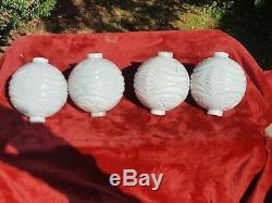 4 Vintage White Milk Glass Stars and Moons Lightning Rod Balls All Very Good