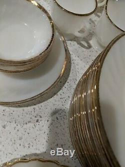 52 PIECE Vintage Anchor Hocking Fire King Milk Glass Swirl Gold Rim HUGE BUNDLE