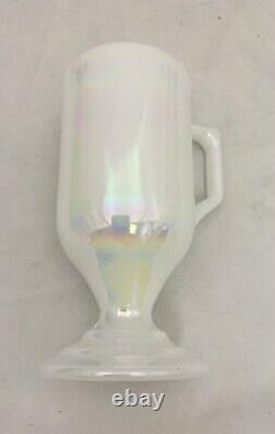 6 Federal Moonglow Iridescent Milk Glass Pedestal Footed Irish Coffee Cups Mugs