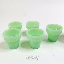 6 Martha Stewart By Mail Jadeite Green Milk Glass Fenton Flowerpots