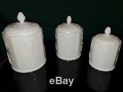 6 Piece Canister Set Indiana White Grape Milk Glass