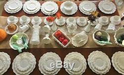 70 PCs 1940's Vintage Westmoreland Paneled Grapes Milk Glass Dinner Serving Set