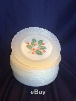 71 Piece Termocrisa Holly Berry Mexico Milk Glass