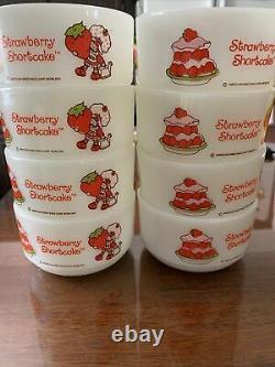 8 Strawberry Shortcake Bowls 1980s Milk Glass Vintage Anchor Hocking Fire King