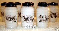8 Vintage Hazel Atlas Round Small Modern Kitchen Spice Shaker Set Original Box