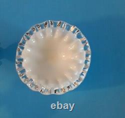 8 Vtg Fenton Milk Glass Silver Crest Tumblers, Goblets, 6 Simply Beautiful