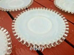 9 Fenton White Opalescent Milk Glass 8 1/2 In Silver Crest Salad Plates Dessert