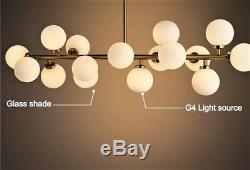 90cm Modern 16 Glass Ball Dining Room G4 LED Milk Glass Pendant Hanging Lamp