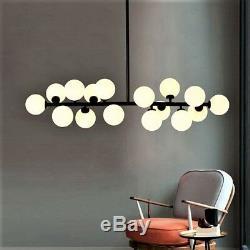 90cm Modern 16 Glass Ball Dining Room G4 LED Milk Glass Pendant Pole Lamp
